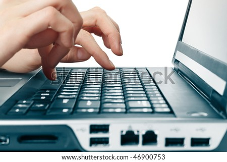 Hands above computer keyboard - stock photo