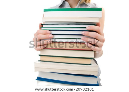 Hands and books isolated on white background