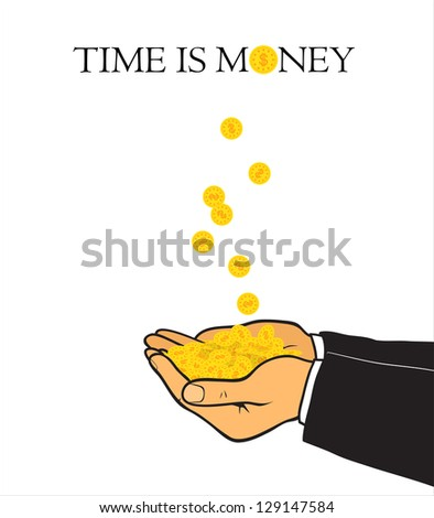 Hands and coins. Raster version. - stock photo