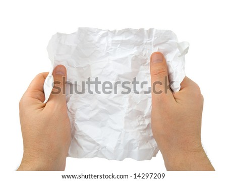 Hands and crumpled paper isolated on white background - stock photo