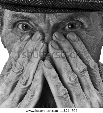 hands and eyes of the old man - stock photo
