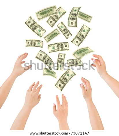 Hands and falling money isolated on white background - stock photo
