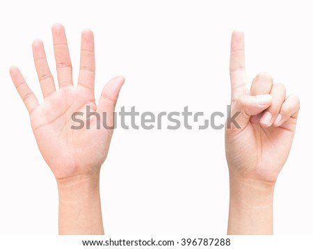 hands and finger of business man, show number six, five, one, first sign, isolated on white background - stock photo