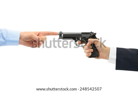 Hands and gun isolated on white background