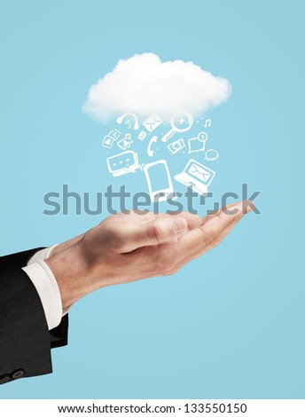 hands and icons symbol over hand - stock photo