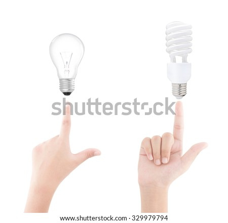 Hands and light bulb on white background - stock photo