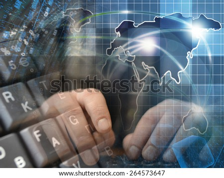 Hands and map - abstract computer background.