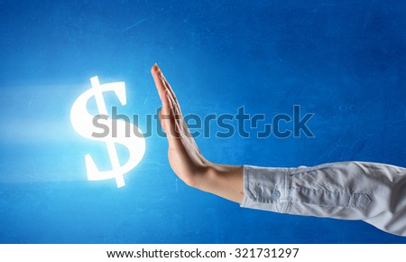 Hands and money currency signs on fingers