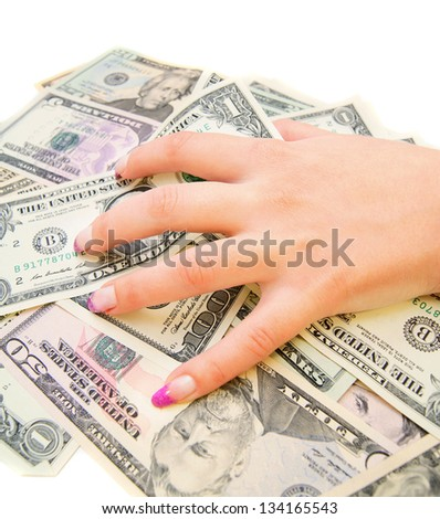 Hands and money (dollars).