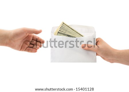 Hands and money in envelope isolated on white background