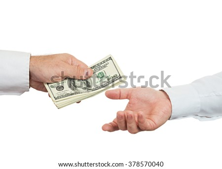 Hands and money isolated on white background