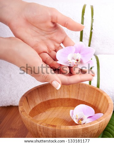Hands and orchids, spa concept