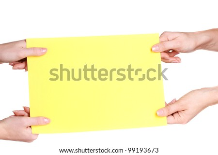 Hands and paper isolated on white