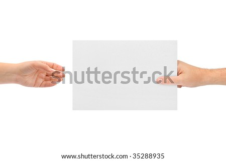 Hands and paper isolated on white background