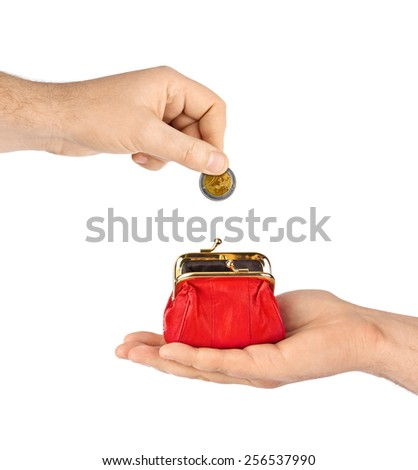 Hands and purse isolated on white background - stock photo
