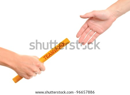 Hands and relay race Teamwork isolated on white background - stock photo
