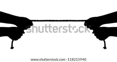 Hands and rope isolated on white background - stock photo