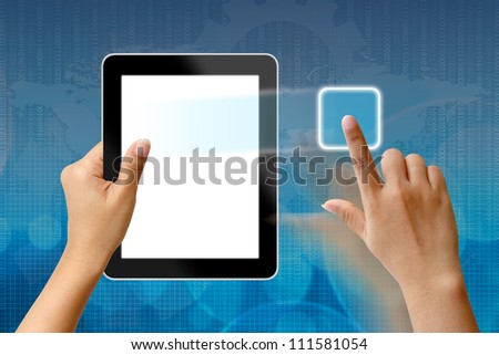 Hands are holding and point on Tablet PC - stock photo