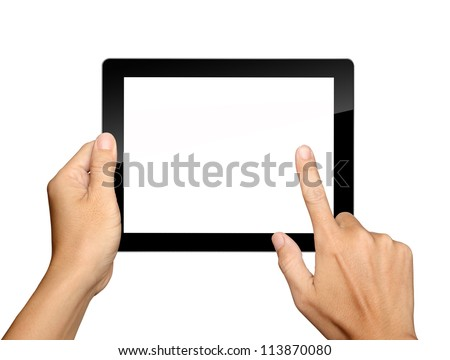 hands are holding and point on Tablet PC Isolated on white background - stock photo