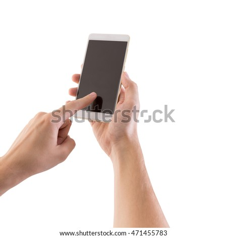 hands are holding and touch on smartphone.