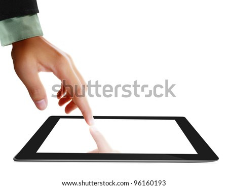 hands are pointing on touch screen ,touch-pad