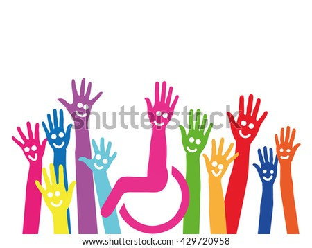 Hands as a symbol of inclusion and integration with wheelchair in the middle - stock photo