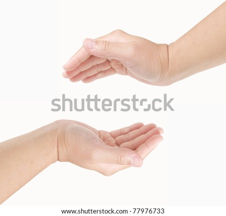 Hands as if holding something on white background