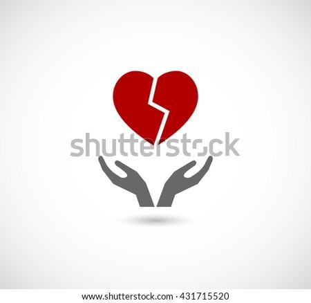 hands caring broken heart icon - stock photo