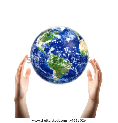 hands catching earth - stock photo