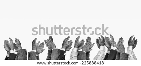 Hands clapping, black and white - stock photo