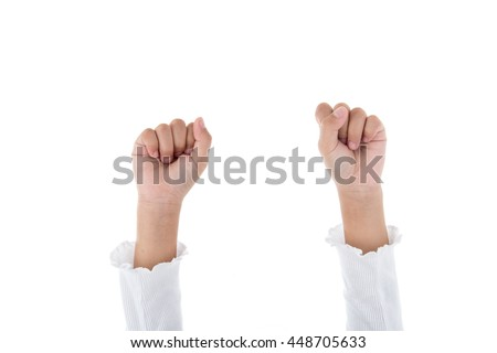 Hands clenched in front of the camera over white background