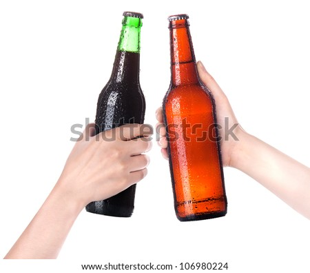 Hands Clinking Glasses Beer isolated on a white - stock photo