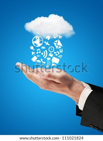hands cloud falling social network concept - stock photo