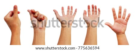 hands collection of asian man in gestures