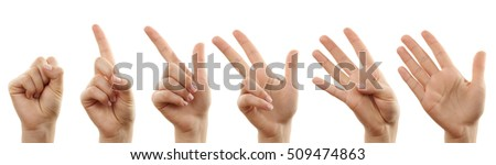 Hands count from zero to five isolated on white background