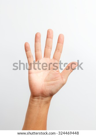 hands counting number five - stock photo
