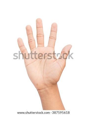 hands counting number five isolated on white background, with clipping path - stock photo