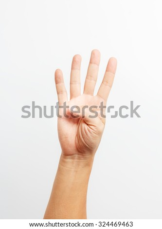 hands counting number four