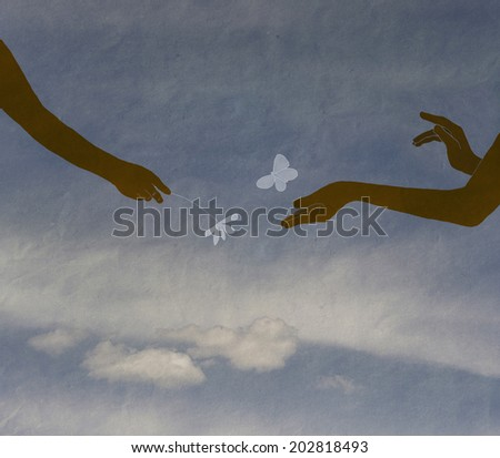 hands couple in love, hands of children against the sky with a cloud, vintage