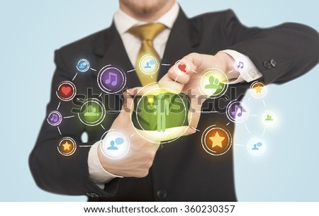 Hands creating a form with social media connection in the center