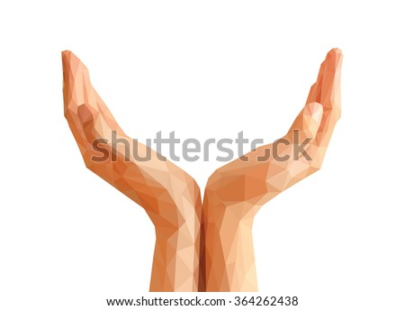 hands cupped polygonal origami Empty. - stock photo