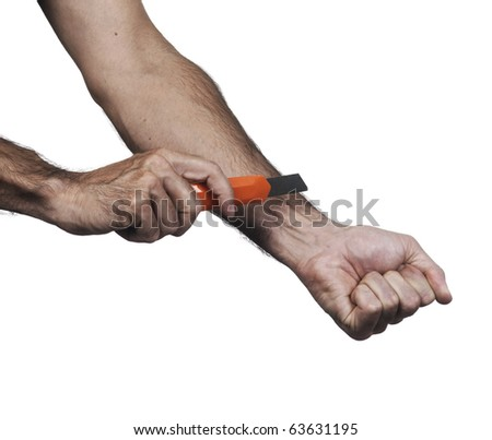 Hands cutting the veins with a razor knife on a white set - stock photo