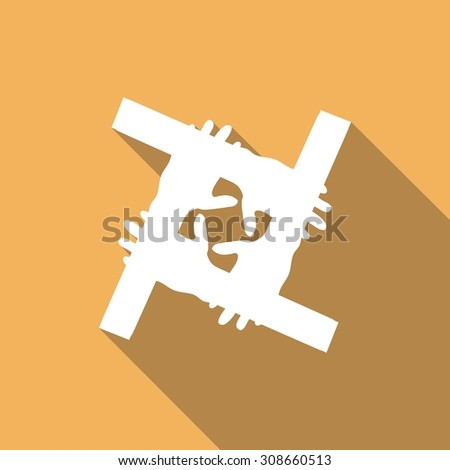 Hands Deal Design Icon  with a long shadow