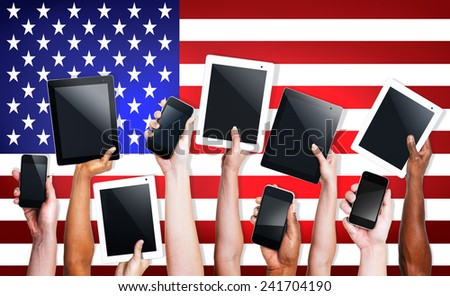 Hands Digital Device Tablet Touch United State of America Concept