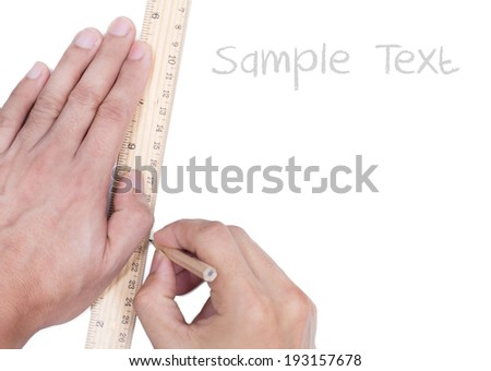 Hands draw with pencil and ruler , isolated - stock photo