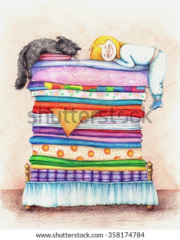 hands drawn picture of girl and cat sleeping in a bed by the color pencils