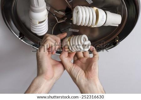 Hands electrical is screwed energy saving light bulbs. - stock photo