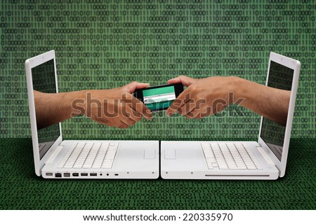 Hands Emerging from Laptop Screens Exchanging Mobile Phone Sharing File - stock photo