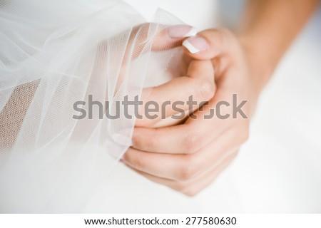 hands folded in prayer bride - stock photo