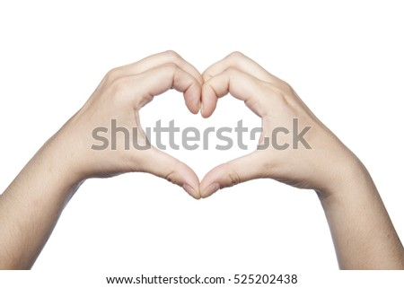 hands folded in the shape of a heart indicate the love
